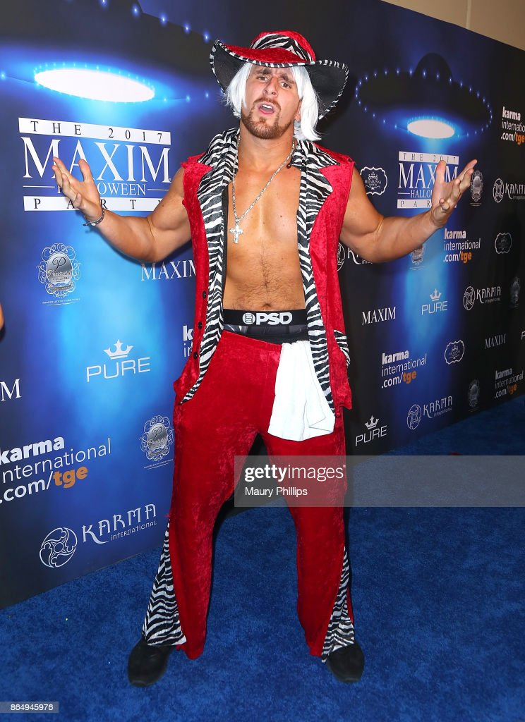 Mojo Rawley arrives at the 2017 Maxim Halloween Party at Los Angeles Center Studios on October 21, 2017 in Los Angeles, California.