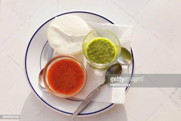 Mojo rojo, mojo verde, red and green sauce, and mojo de queso, white cream cheese, La Gomera, Canary Islands, Spain
