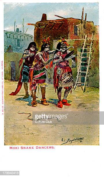 Moki Snake Dancers Hopi Indian men taking part in a snake dance Published by the Selige Souvenir Post Card Co St Louis USA