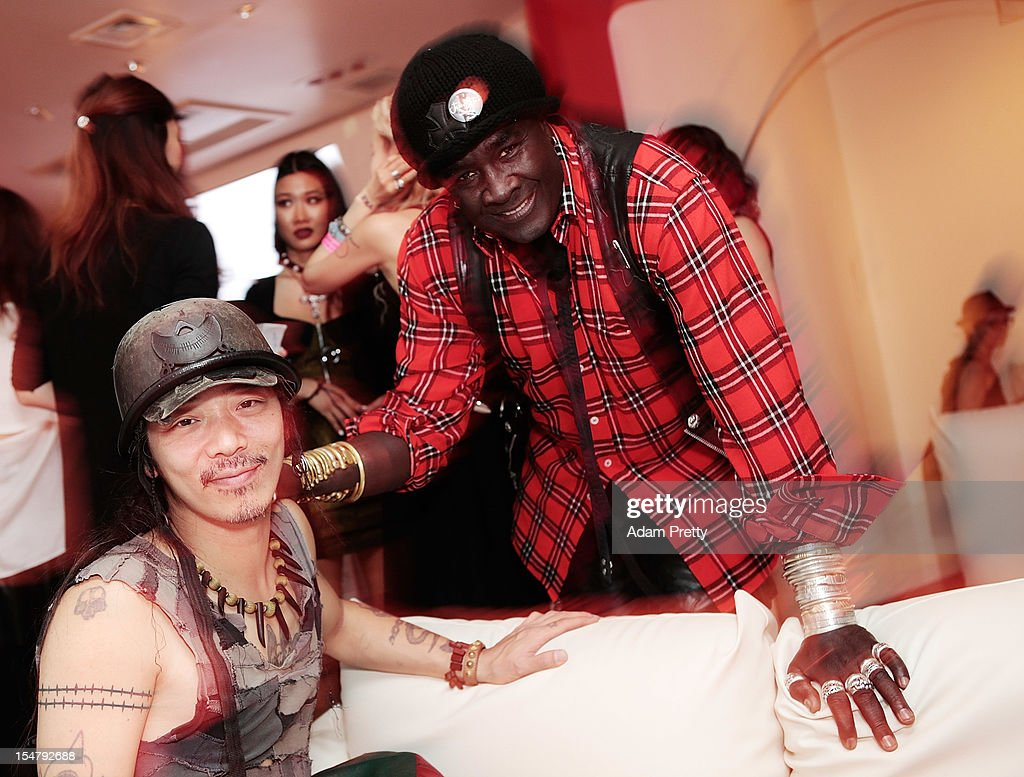 Moko of Chrome Hearts and a guest poses for a photograph during the ELLEgirl Night in association with Chrome Hearts at Fiat Caffe on October 26, 2012 in Tokyo, Japan.