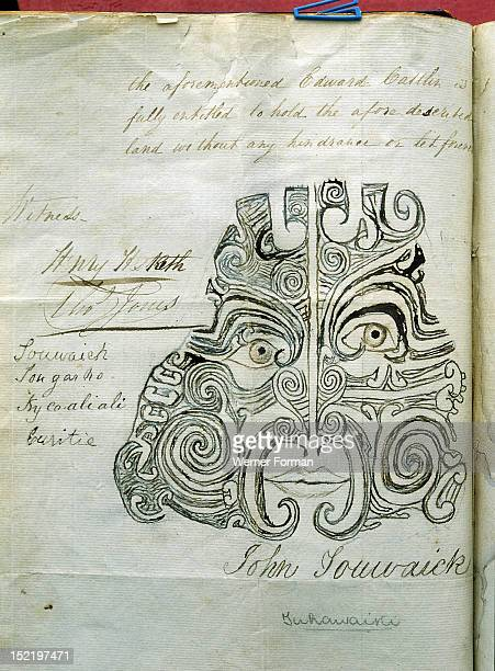 Moko pattern of Tuhawaika a chief of the Kai Tahu Otago used as his signature in lieu of his handwriting on a deed of sale of land in the Catlins...