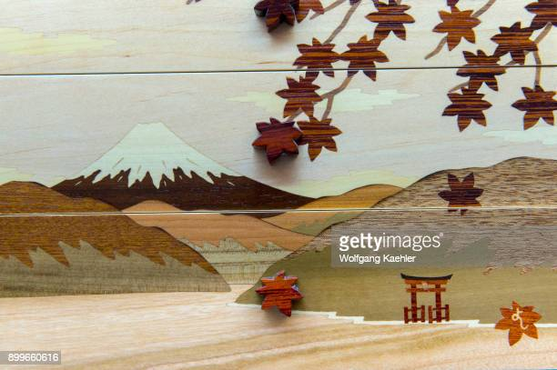 Mokuzogan is exquisitely created inlaid work made at Hamamatsuya a studio where wooden handicrafts are made in the Hakone area Kanagawa Prefecture...