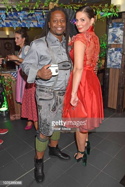 Mola Adebisi and Daniela Dany Michalski during the Angermaier TrachtenNacht at Hofbraeuhaus on August 30 2018 in Berlin Germany