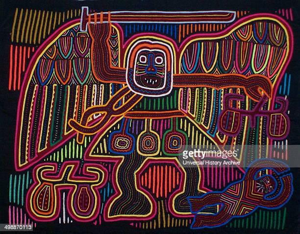 Mola textile by Kuna Indian artist depicting a biblical scene From the San Blas Archipelago Panama Reverse applique design worn on female blouse 13 x...