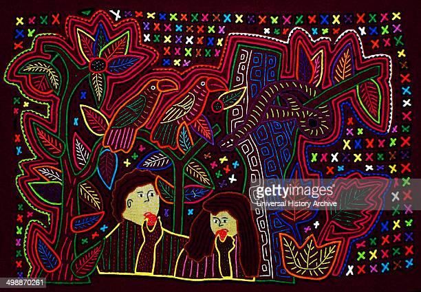Mola textile by Kuna Indian artist depicting a biblical scene From the San Blas Archipelago Panama Reverse applique design worn on female blouse Adam...