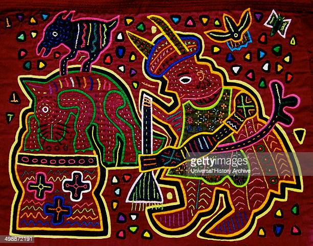 Mola textile by Kuna Indian artist, depicting a Kuna woman sweeping the floor. From the San Blas Archipelago, Panama. Reverse applique design worn on...