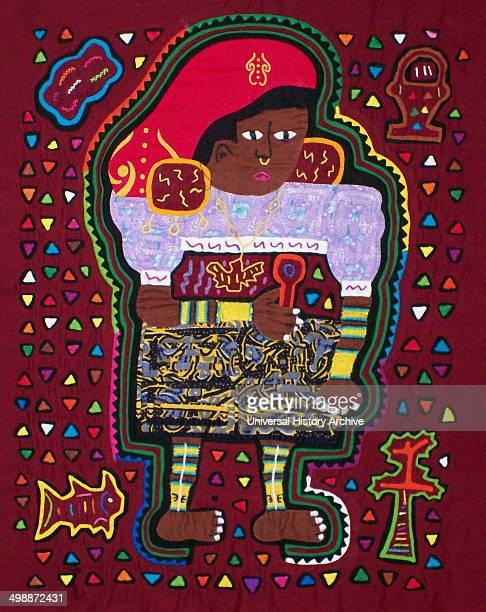 Mola textile by Kuna Indian artist depicting a Kuna woman wearing a mola and full tribal dress From the San Blas Archipelago Panama Reverse applique...