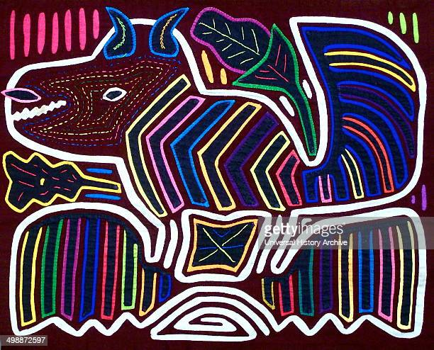 Mola textile by Kuna Indian artist depicting a monster From the San Blas Archipelago Panama Reverse applique design worn on female blouse 13 x 16 in...