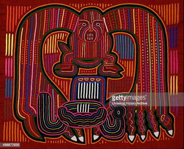 Mola textile by Kuna Indian artist depicting a monster From the San Blas Archipelago Panama Reverse applique design worn on female blouse 13 x 155 in...