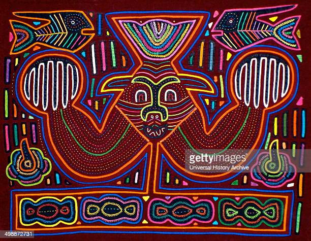 Mola textile by Kuna Indian artist depicting a monster From the San Blas Archipelago Panama Reverse applique design worn on female blouse A...