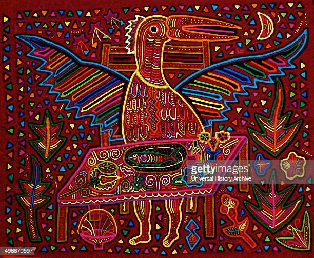 Mola textile by Kuna Indian artist depicting a scene from Kuna mythology the ancestral NilsaBird turning into a Kuna human From the San Blas...