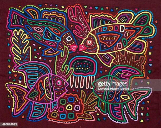 Mola textile by Kuna Indian artist depicting an invertebrate animal From the San Blas Archipelago Panama Reverse applique design worn on female...