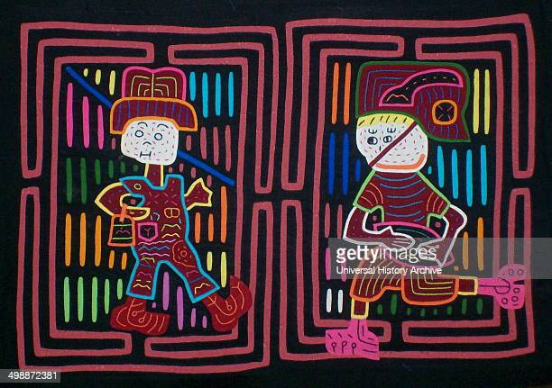 Mola textile by Kuna Indian artist depicting two baseballcards From the San Blas Archipelago Panama Reverse applique design worn on female blouse