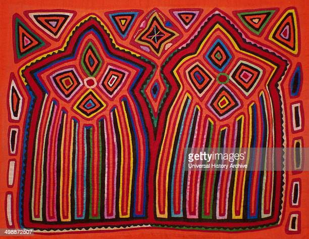Mola textile by Kuna Indian artist depicting two shooting stars From the San Blas Archipelago Panama Reverse applique design worn on female blouse