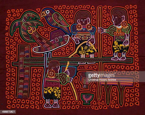 Mola textile by Kuna Indian artist, depicting women crushing sugar-cane. From the San Blas Archipelago, Panama. Reverse applique design worn on...