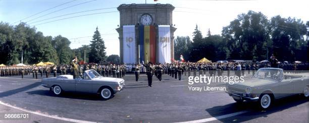 Moldavian soldiers parade for the 10th Independence Day in the capital's main square August 27, 2001 in Chisinau, Moldova. After the collapse of the...
