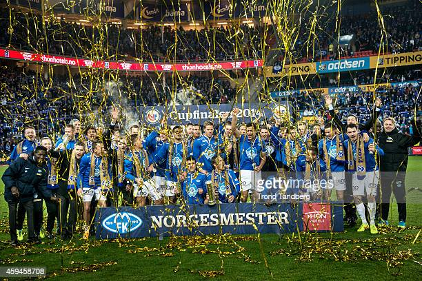 Molde celebrates victory after winning the Norwegian Cup Final at Ullevaal Stadion on November 23 2014 in Oslo Norway