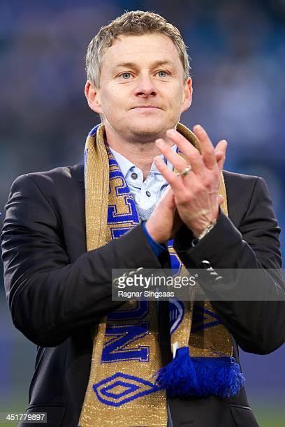 Molde FK head coach Ole Gunnar Solskjaer celebrates victory after winning the Norwegian Cup Final match between Molde FK and Rosenborg BK at Ullevaal...