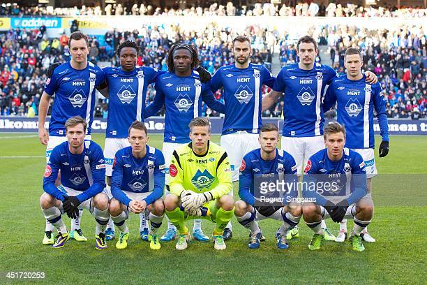 Molde FK players pose prior to the Norwegian Cup Final match between Molde FK and Rosenborg BK at Ullevaal Stadion on November 24 2013 in Oslo Norway