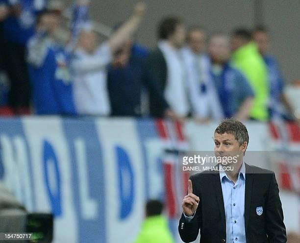Molde FK 's coach Ole Gunnar Solskjaer reacts during the UEFA Europa League Group E football match FC Steaua Bucaresti vs Molde FK in Bucharest on...