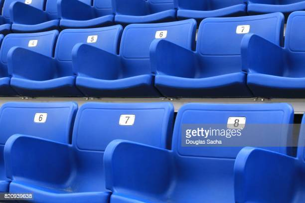 Molded plastic Spectator seating in an outdoor stadium