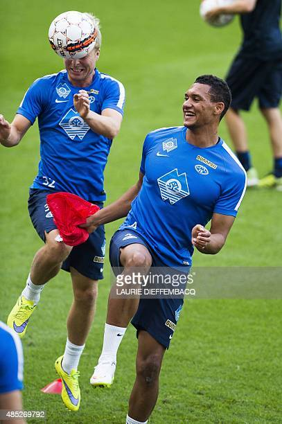 Molde's Sander Svendsen and Molde's Ruben Gabrielsen attend their team's training session in Liege Belgium on August 26 on the eve of the UEFA Europa...