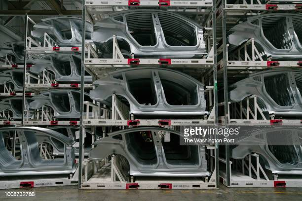 Moldings for the Tesla Model 3 are seen stacked at the Tesla factory in Fremont California on Thursday July 26 2018