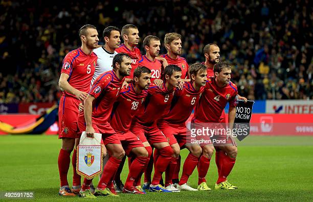 Moldova team group during the UEFA EURO 2016 Qualifying match between Sweden and Moldova at the National Stadium Friends Arena on October 12 2015 in...