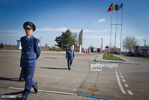 Moldovan customs guard at the BCP Customs Control Zone on the border between Ukraine and Moldova