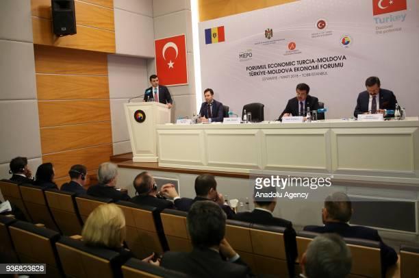Moldovan Minister of Economy Chiril Gaburici makes a speech as he attends the TurkeyMoldova Economic Forum with Turkish Minister of Economy Nihat...