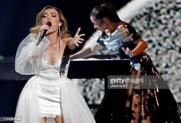 Moldova's Anna Odobescu performs the song Stay during the second semifinal of the 64th edition of the Eurovision Song Contest 2019 at Expo Tel Aviv...