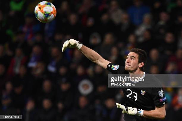 Moldova's goalkeeper Alexei Koselev throws the ball during the Euro 2020 qualifying football match between Moldova and France on March 22 2019 at...