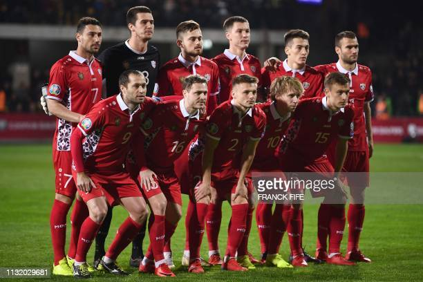 Moldova's players pose ahead of the Euro 2020 qualifying football match between Moldova and France, on March 22, 2019 at Zimbru stadium in Chisinau.
