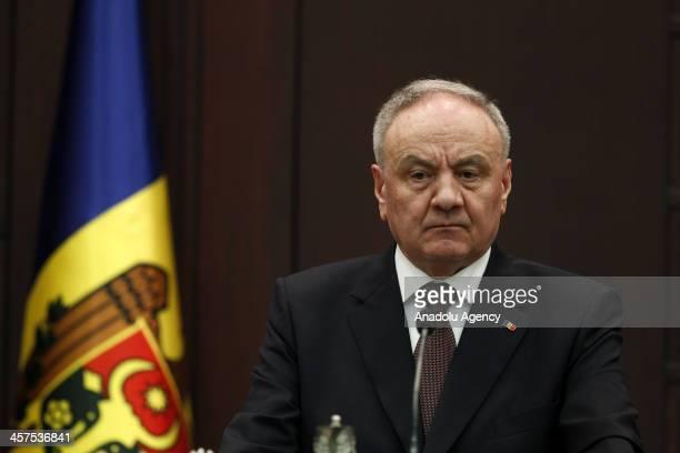 Moldova's President Nicolae Timofti talks during a press conference with Turkish President Abdullah Gul on December 18, 2013 in Ankara, Turkey....
