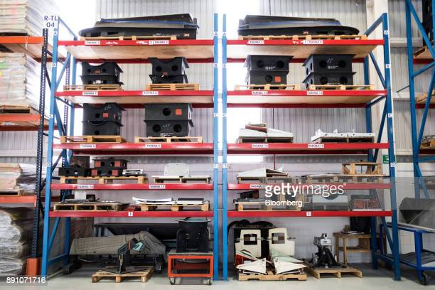 Molds for aircraft parts sit on shelves at the Tighitco Inc manufacturing facility in San Luis Potosi Mexico on Thursday Nov 16 2017 With 312...