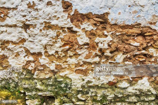 Moldy stone wall background, worn brick wall, old wall background weathered