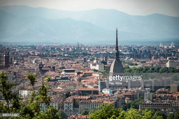 mole antonelliana and surrounding buildings from distance. - turin stock pictures, royalty-free photos & images