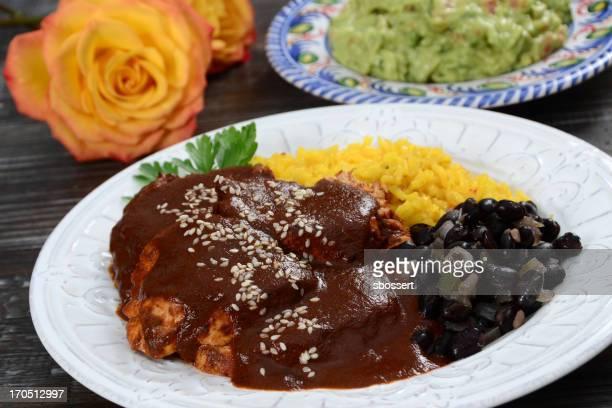 Mole poblano de guajolote on white plate