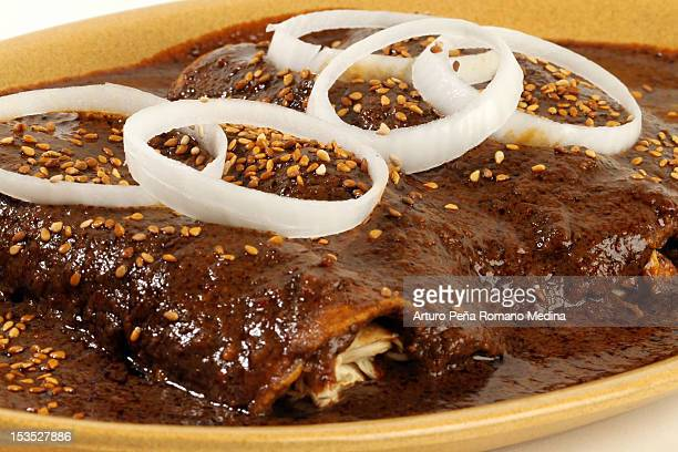 mole with chiken - mole sauce stock pictures, royalty-free photos & images