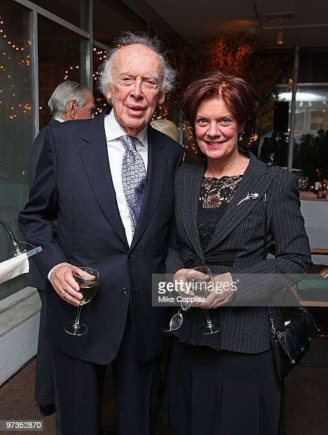 Molecular biologist Dr James D Watson and wife Elizabeth Watson attend the Literacy Partners 26th annual Evening of Readings pregala kickoff at...