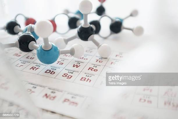 molecular structure and periodic table on desk - periodic table stock photos and pictures