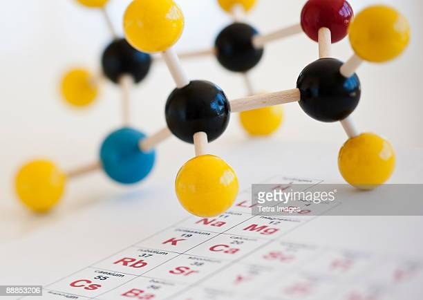 molecule model on periodic table - periodic table stock photos and pictures
