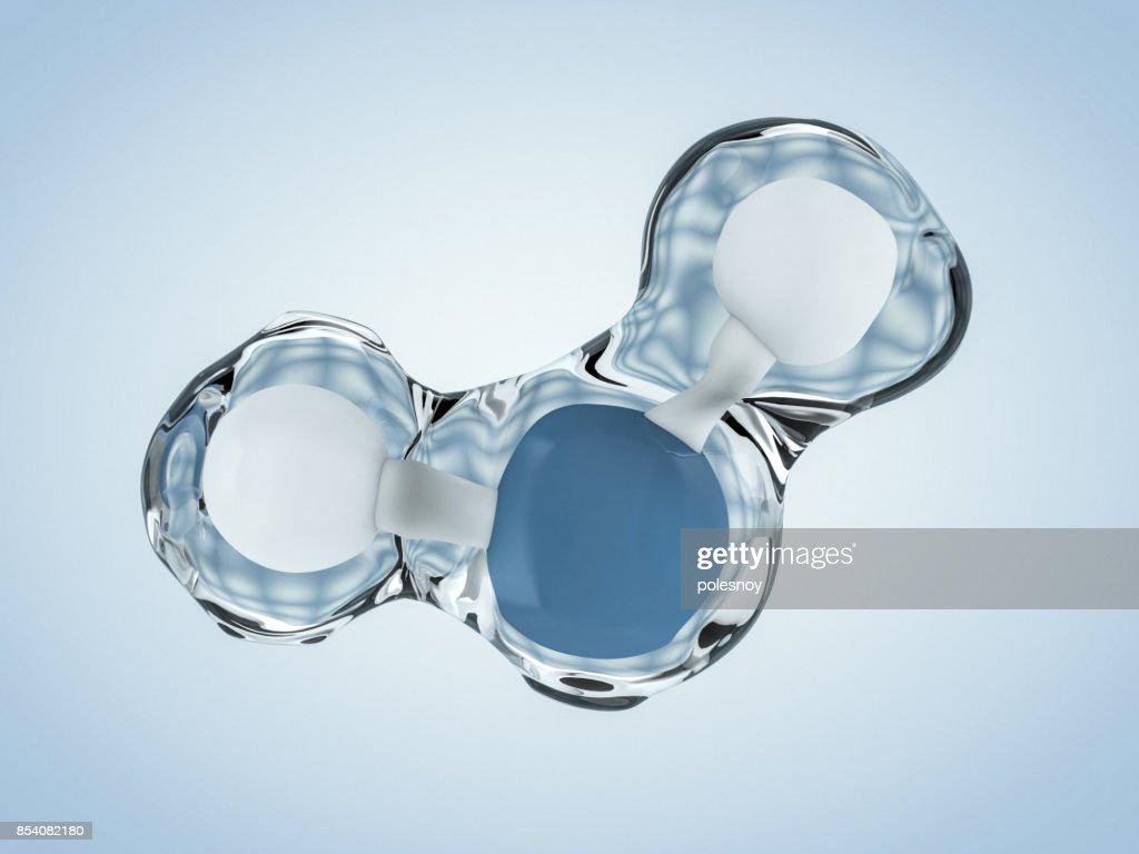 Molecule of Water. Structure. 3D rendering : Stock Photo