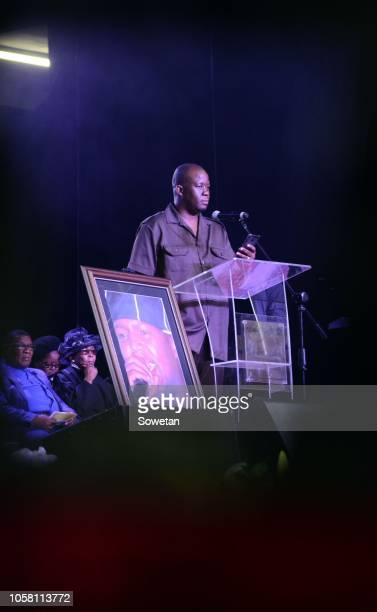 Molemi pays a tribute during the funeral service of the late musician Jabulani 'HHP' Tsambo at Mmabatho Convention Centre on November 03, 2018 in...