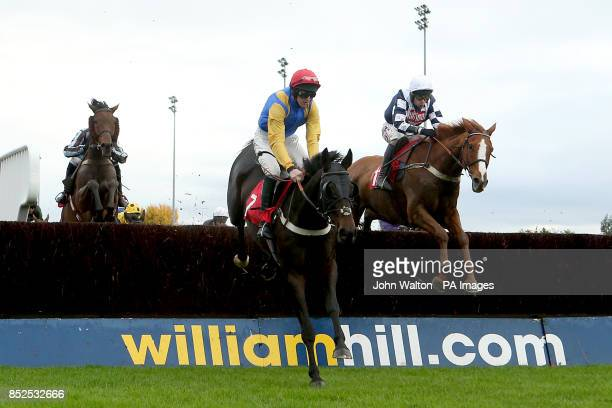 Moleskin ridden by Jack Doyle jumps ahead of Suburban Bay ridden by Wayne Hutchinson during the William Hill iPhone iPad iPad Mini Handicap Chase