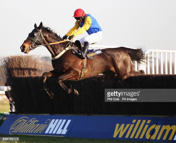 Moleskin ridden by Paul Maloney clears the last to win the williamhillcom Novices Handicap Chase at Kempton Park Racecourse Sunbury on Thames