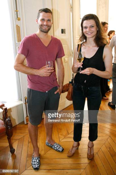 Molieres awarded actors Alexis Michalik and Anna Cervinka attend the 'Caisse d'Epargne IleDeFrance' supports the Ceremony of the Molieres 2017 Party...