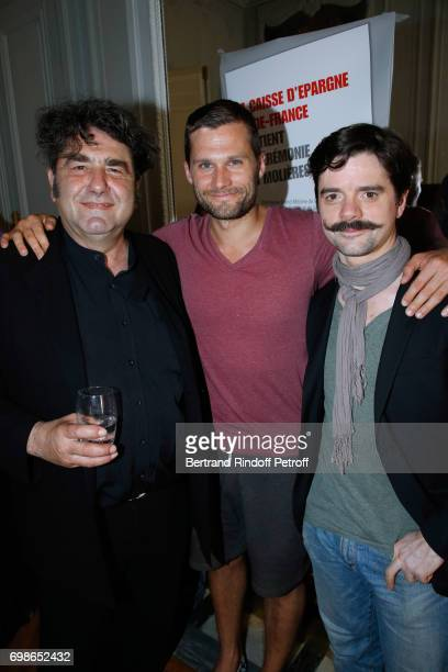 Molieres awarded actors Pierre Forest Alexis Michalik and Guillaume Sentou attend the 'Caisse d'Epargne IleDeFrance' supports the Ceremony of the...