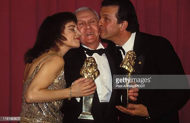 """""""Molieres"""" stage Awards Ceremony in Paris, France in May 1989 - Nicole Calfan, Robert Hirsch, Roland Giraud."""