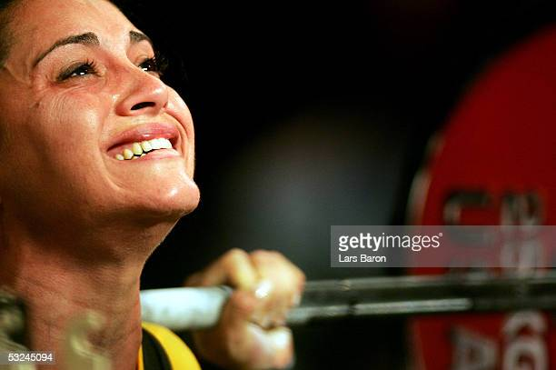 Molina Cobos from Venezuela in action during the World Games 2005 Powerlifting Competition on July 16 2005 in Duisburg Germany